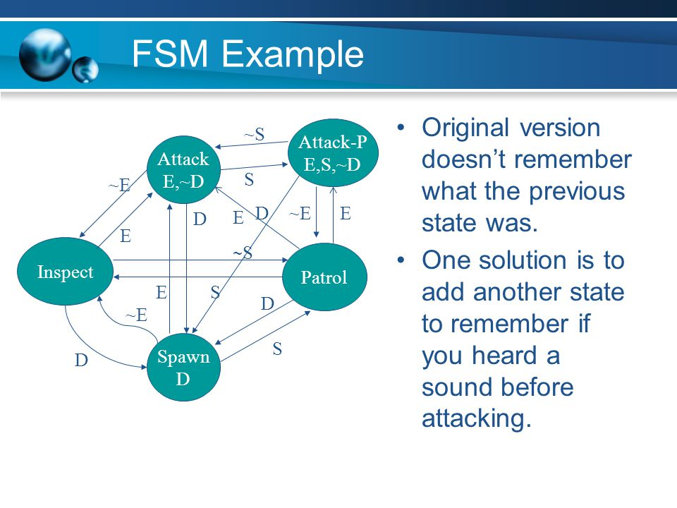 FSM Example Original version doesn't remember what the previous state was.