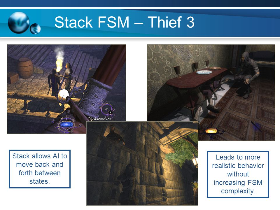 Stack FSM – Thief 3 Stack allows AI to move back and forth between states.