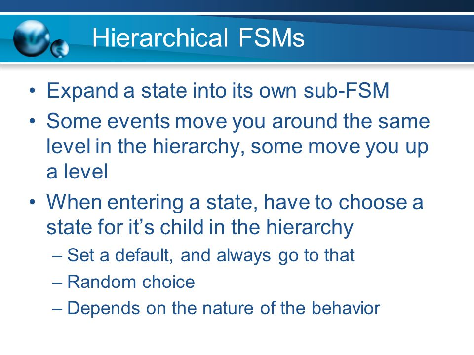 Hierarchical FSMs Expand a state into its own sub-FSM
