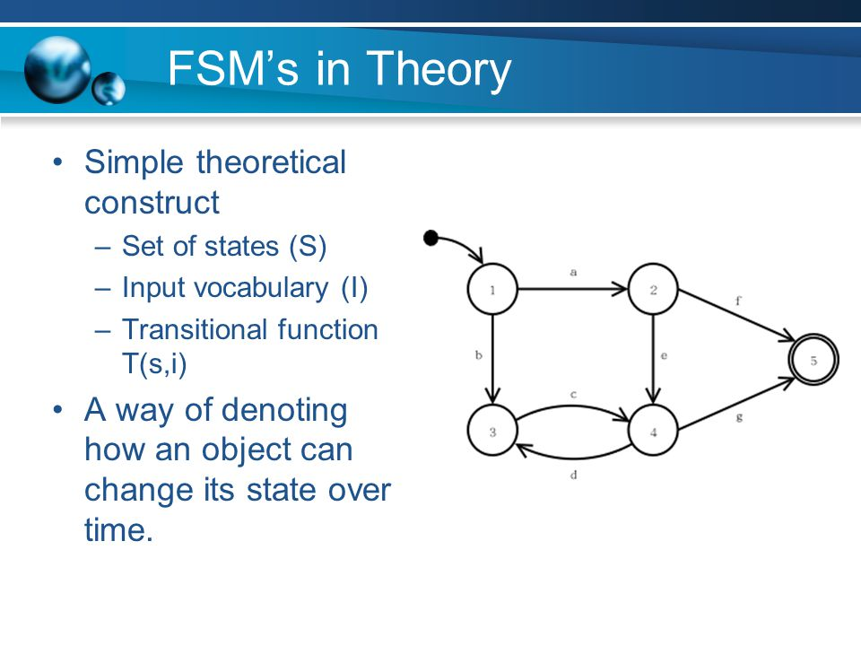 FSM's in Theory Simple theoretical construct