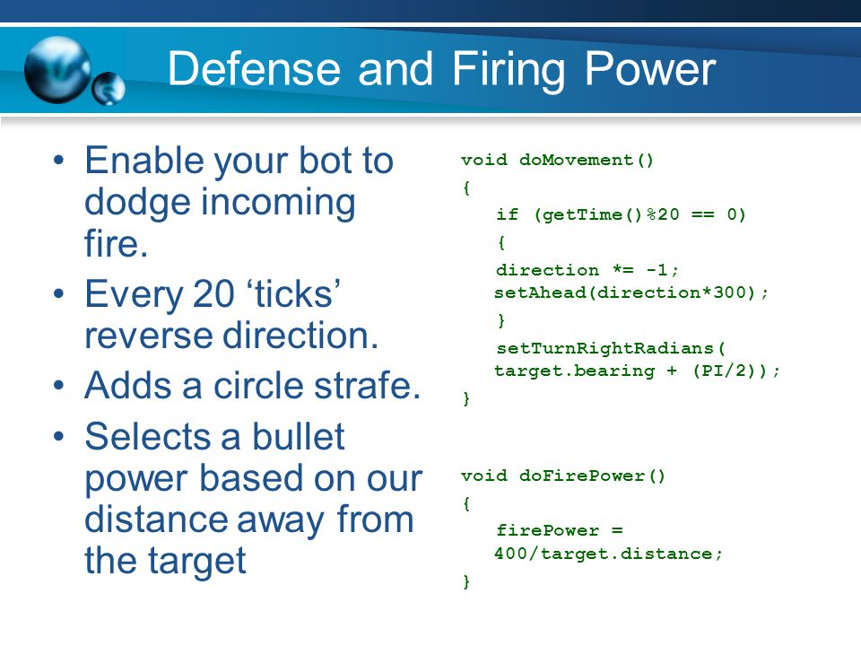 Defense and Firing Power