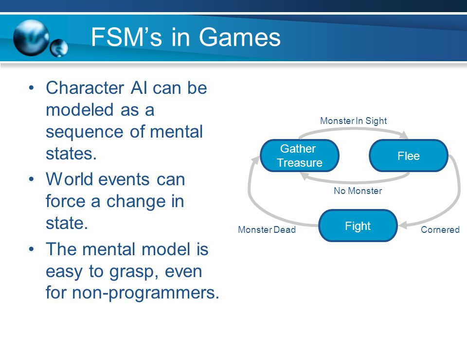 FSM's in Games Character AI can be modeled as a sequence of mental states. World events can force a change in state.