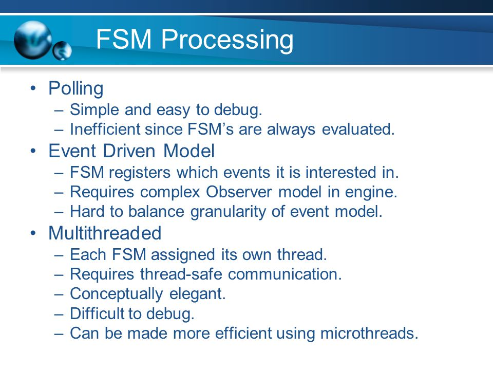 FSM Processing Polling Event Driven Model Multithreaded
