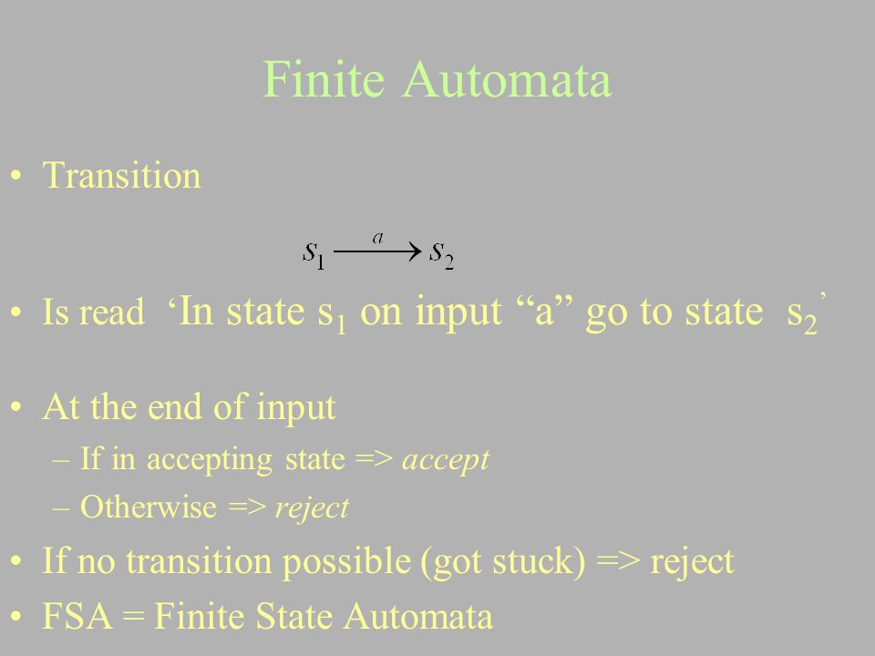 Finite Automata Transition