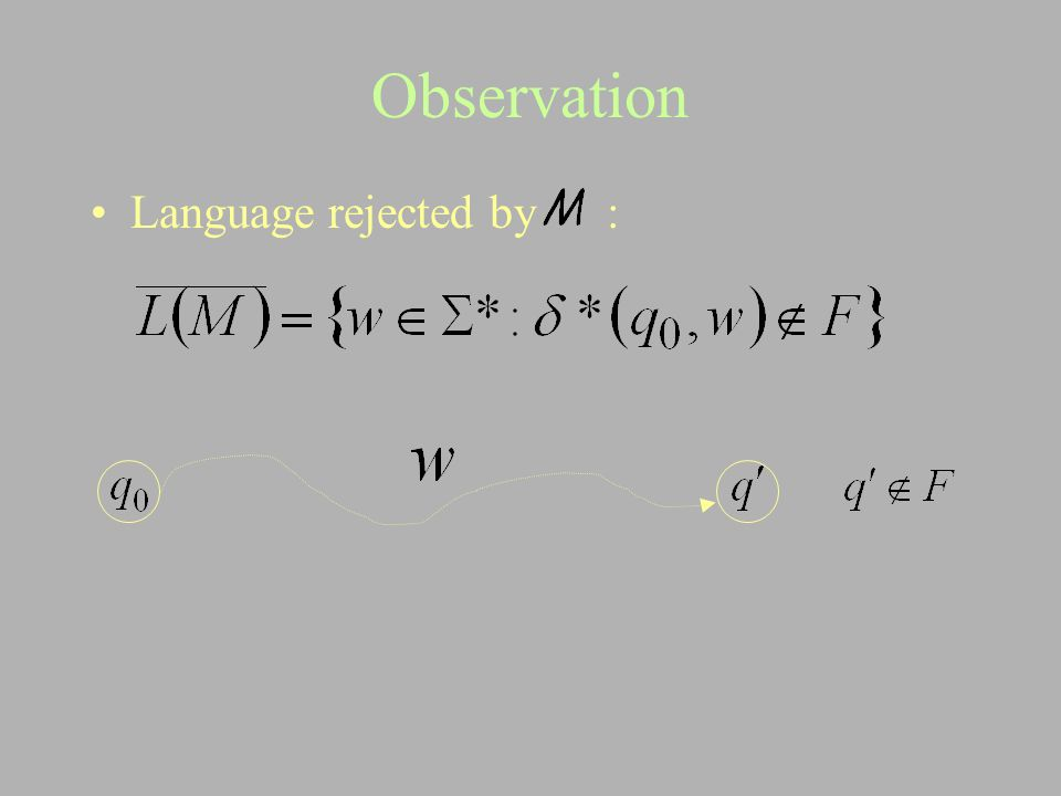 Observation Language rejected by :