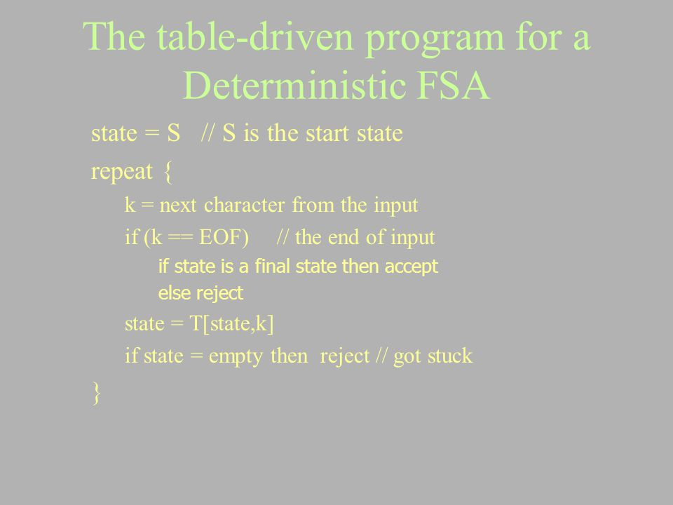 The table-driven program for a Deterministic FSA