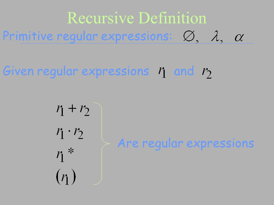 Recursive Definition Primitive regular expressions: