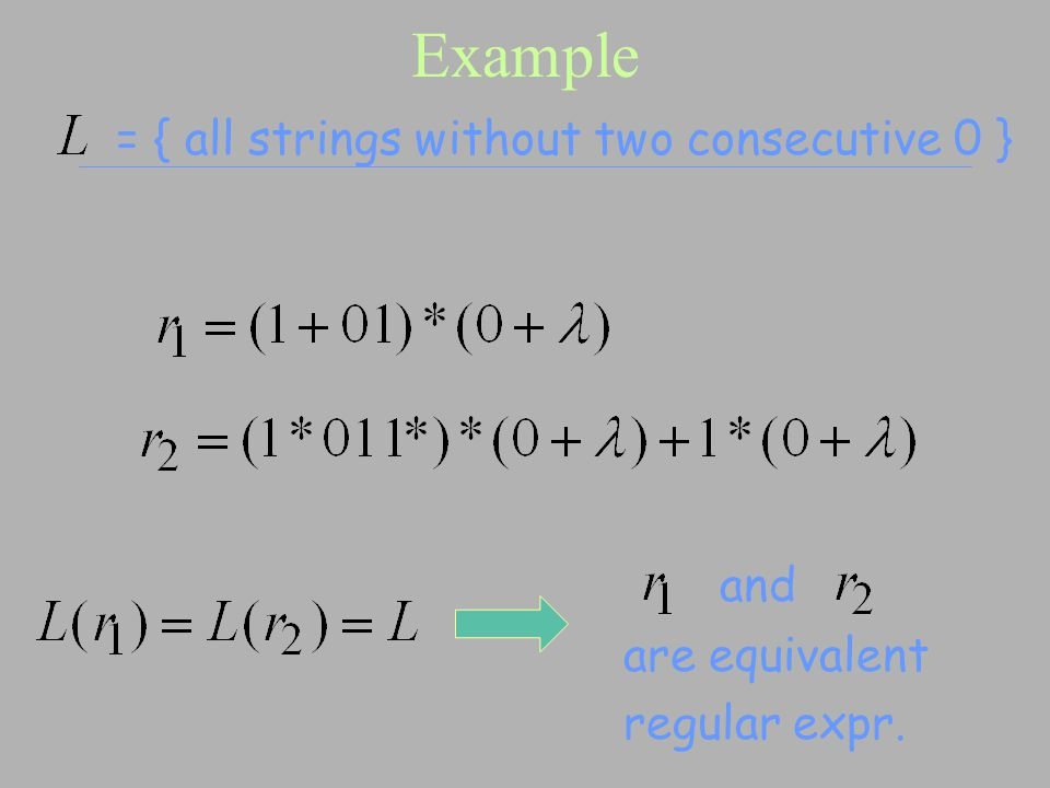 Example = { all strings without two consecutive 0 } and are equivalent