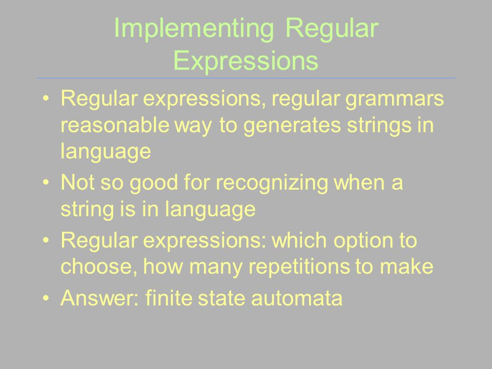 Implementing Regular Expressions