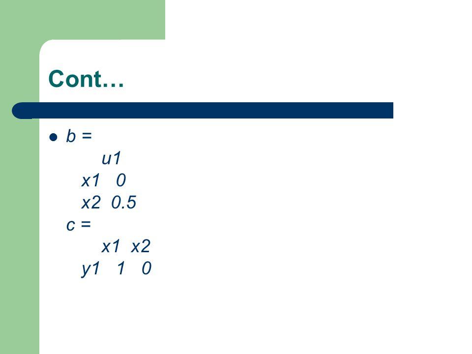 Cont… b = u1 x1 0 x2 0.5 c = x1 x2 y1 1 0