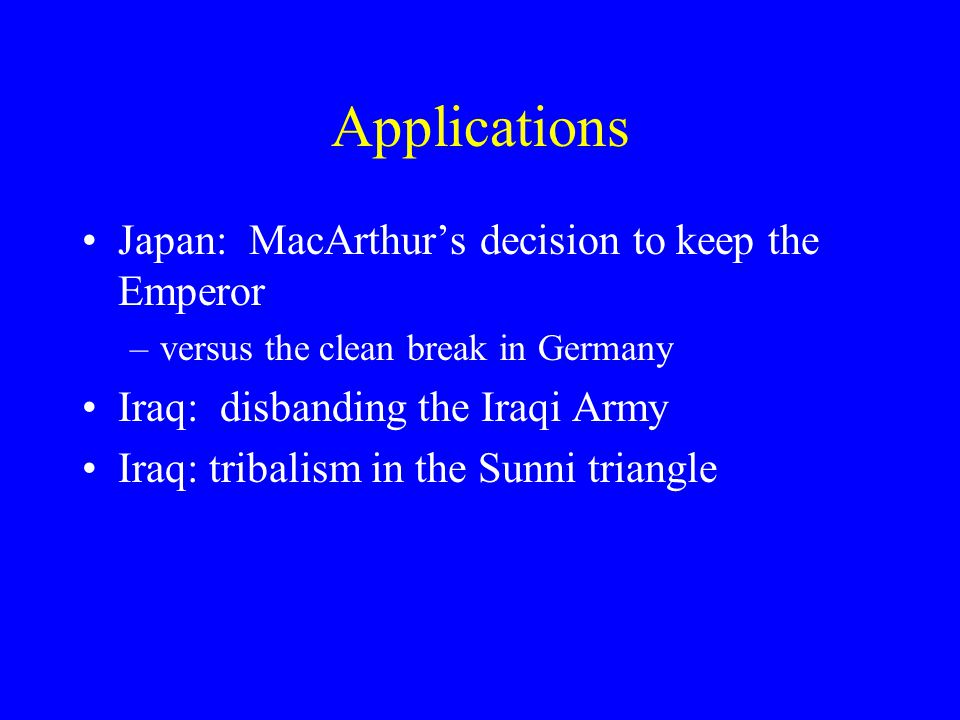 Applications Japan: MacArthur's decision to keep the Emperor