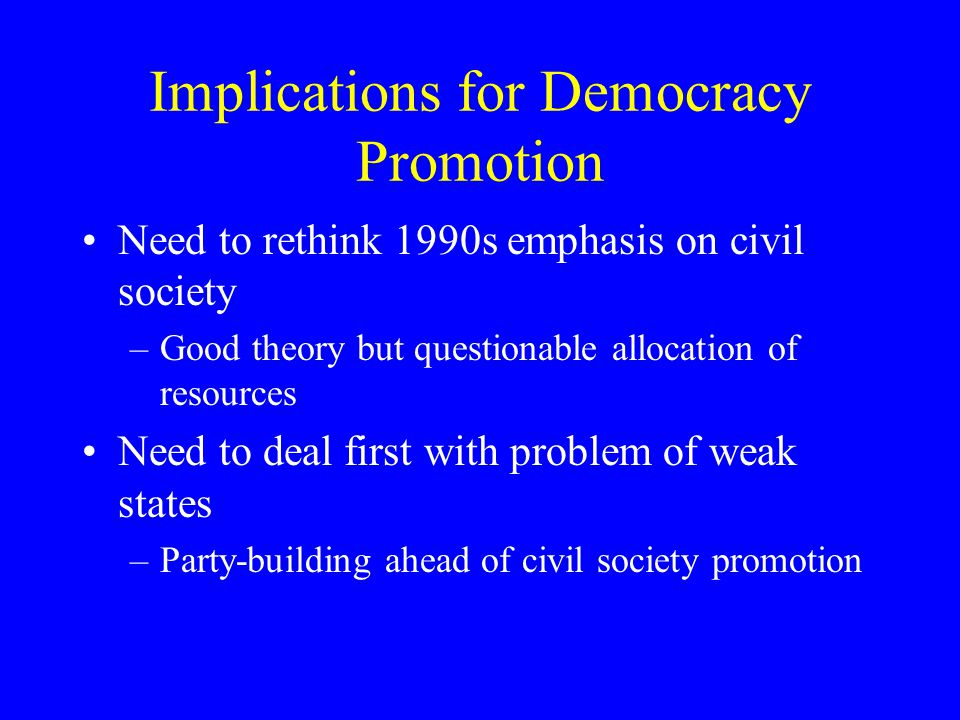 Implications for Democracy Promotion