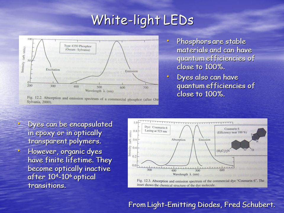 White-light LEDs Phosphors are stable materials and can have quantum efficiencies of close to 100%.