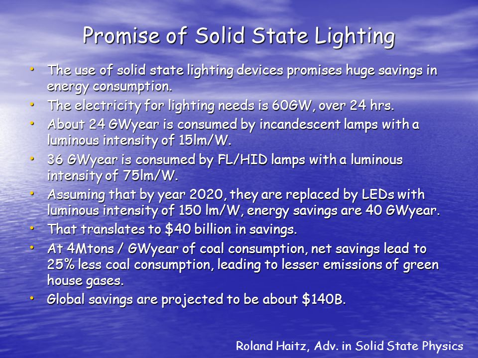 Promise of Solid State Lighting