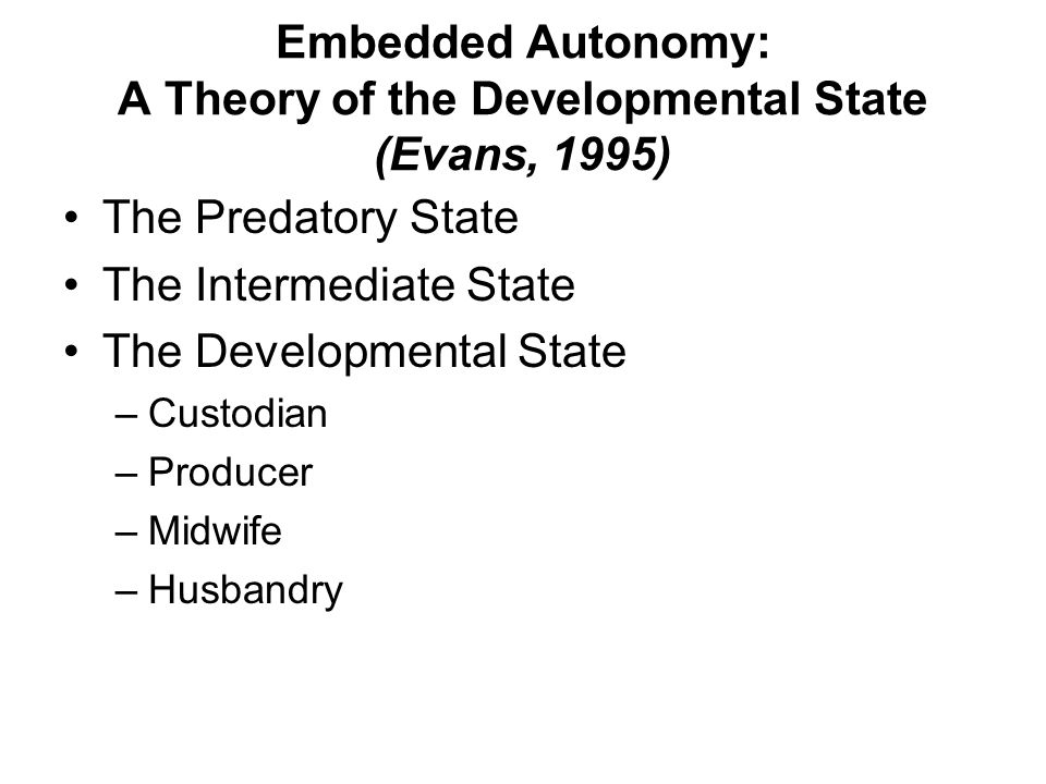Embedded Autonomy: A Theory of the Developmental State (Evans, 1995)
