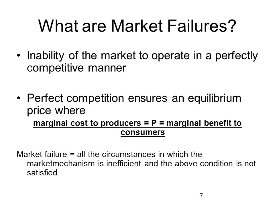 What are Market Failures