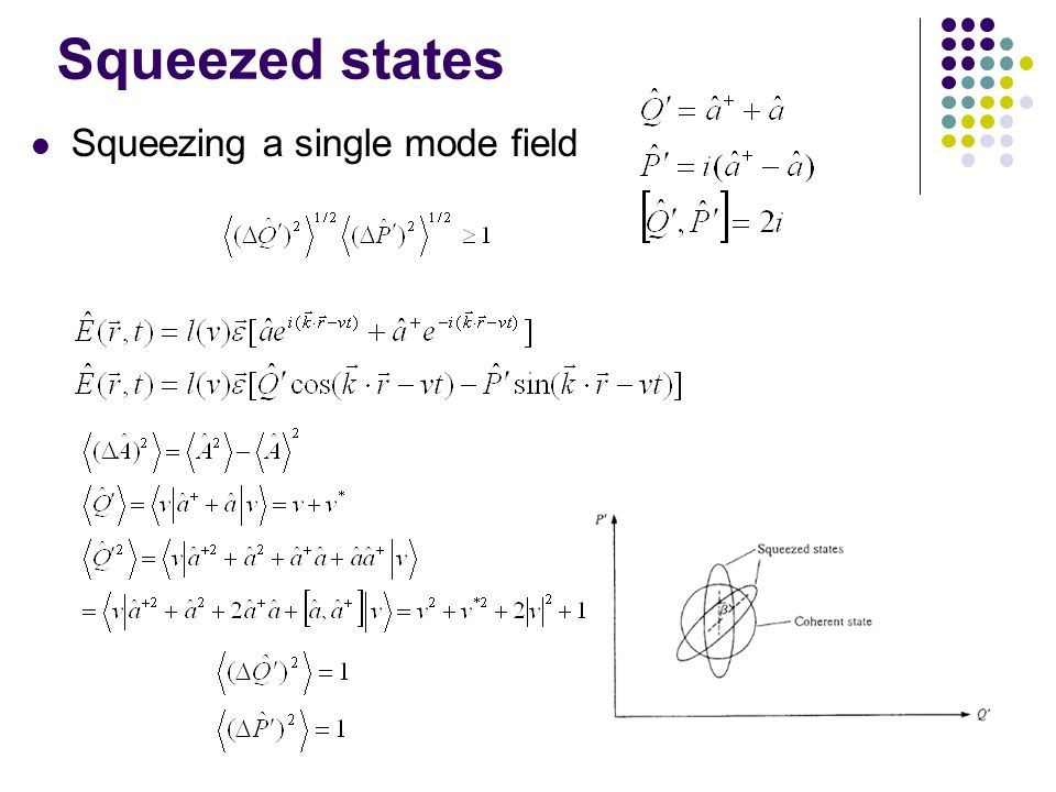 Squeezed states Squeezing a single mode field