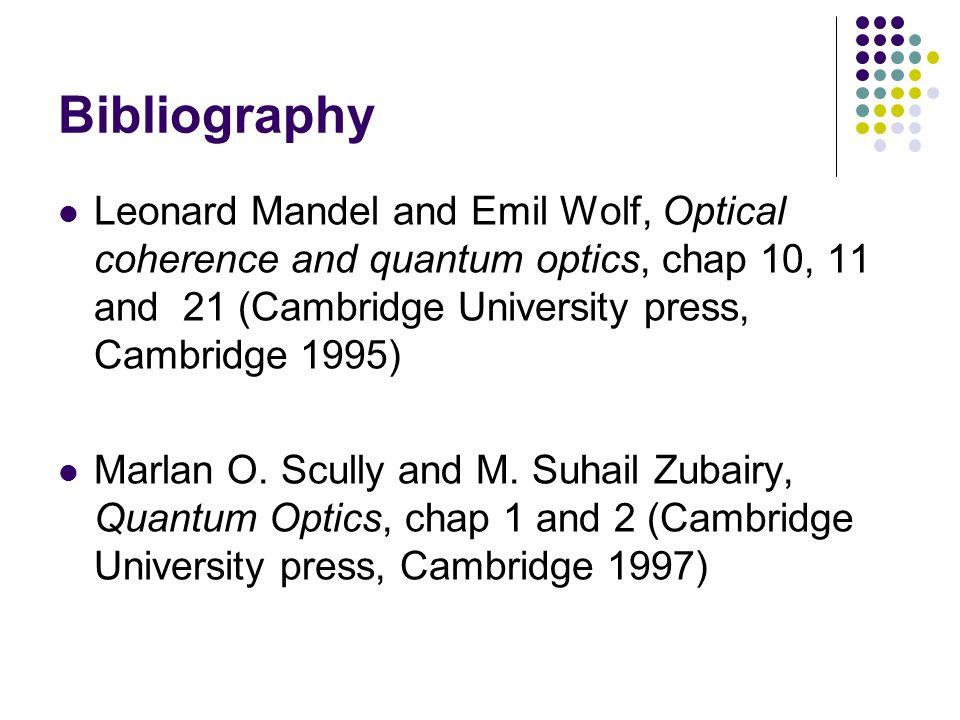 Bibliography Leonard Mandel and Emil Wolf, Optical coherence and quantum optics, chap 10, 11 and 21 (Cambridge University press, Cambridge 1995)