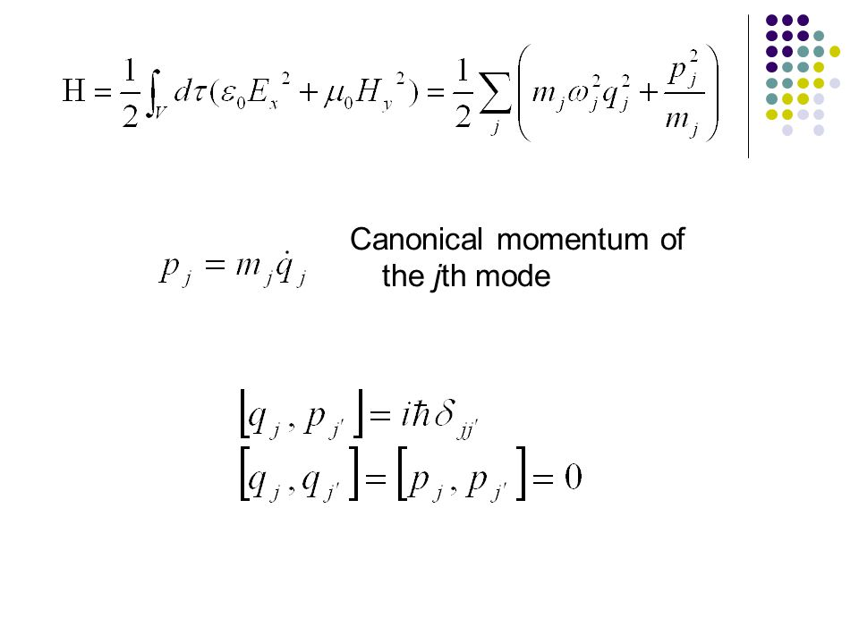 Canonical momentum of the jth mode