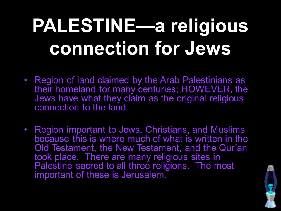 PALESTINE—a religious connection for Jews
