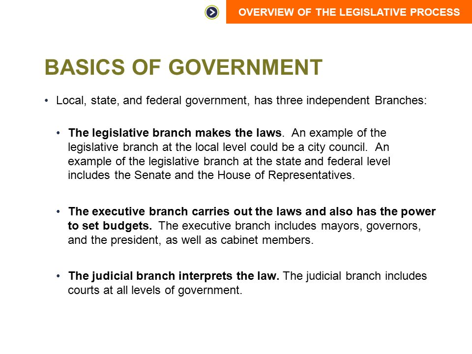 Basics of Government Local, state, and federal government, has three independent Branches: