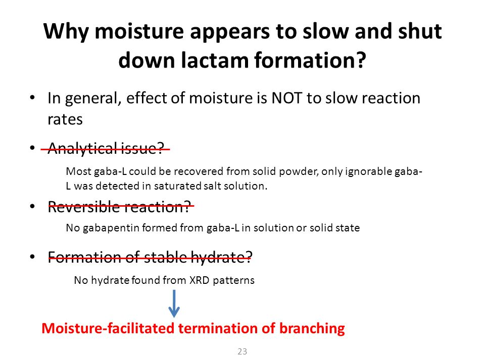 Why moisture appears to slow and shut down lactam formation