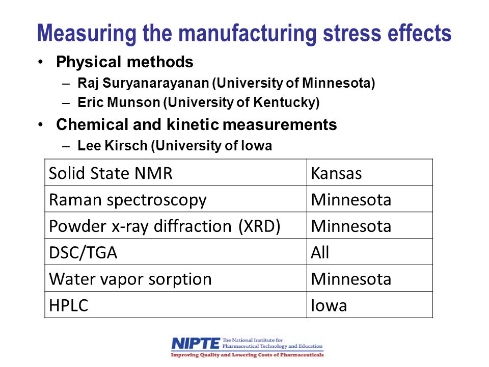 Measuring the manufacturing stress effects