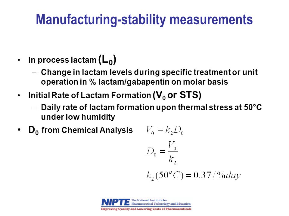 Manufacturing-stability measurements
