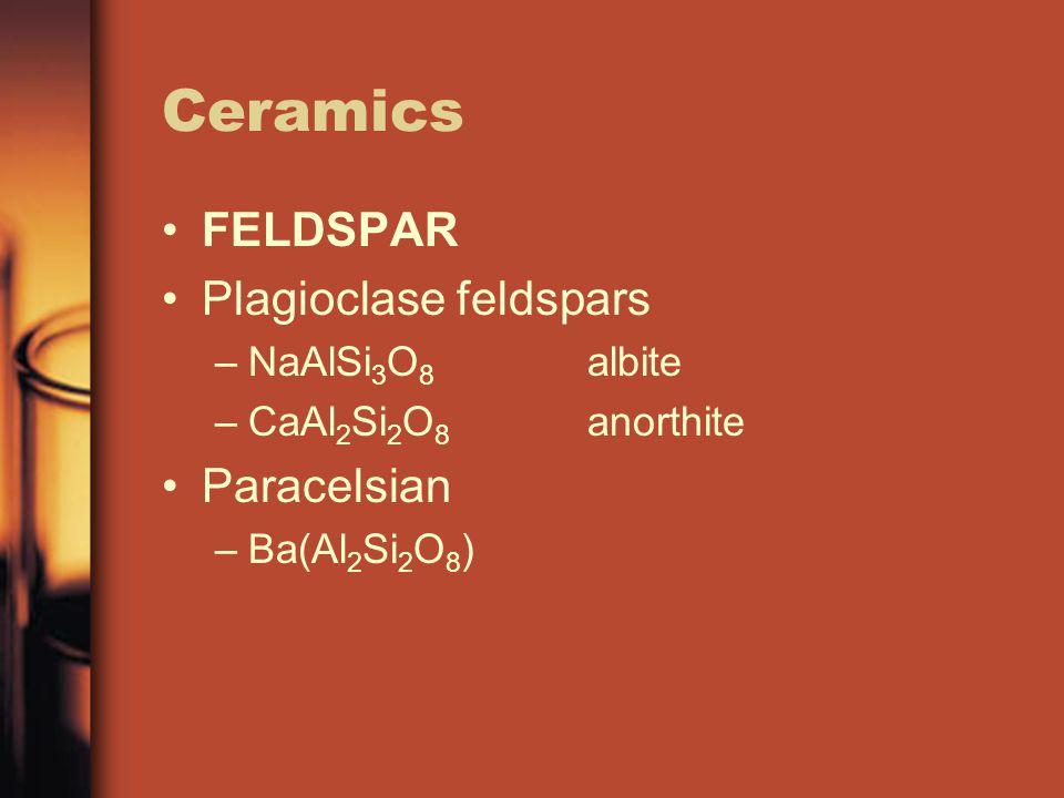 Ceramics FELDSPAR Plagioclase feldspars Paracelsian NaAlSi3O8 albite