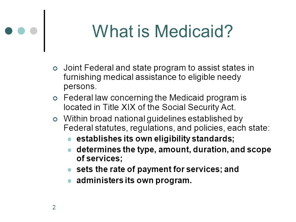 What is Medicaid Joint Federal and state program to assist states in furnishing medical assistance to eligible needy persons.