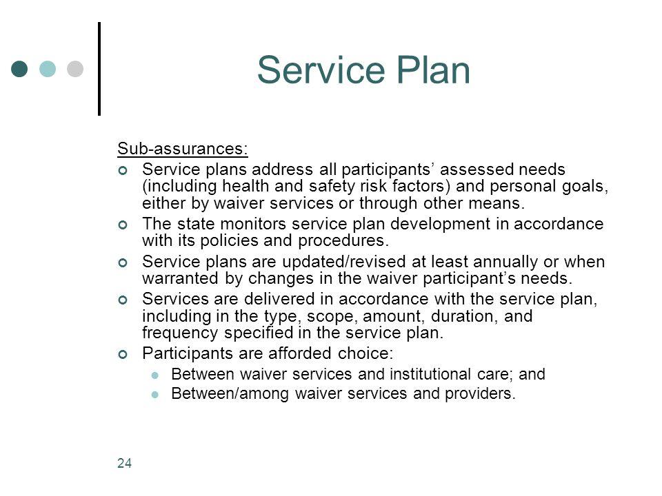 Service Plan Sub-assurances: