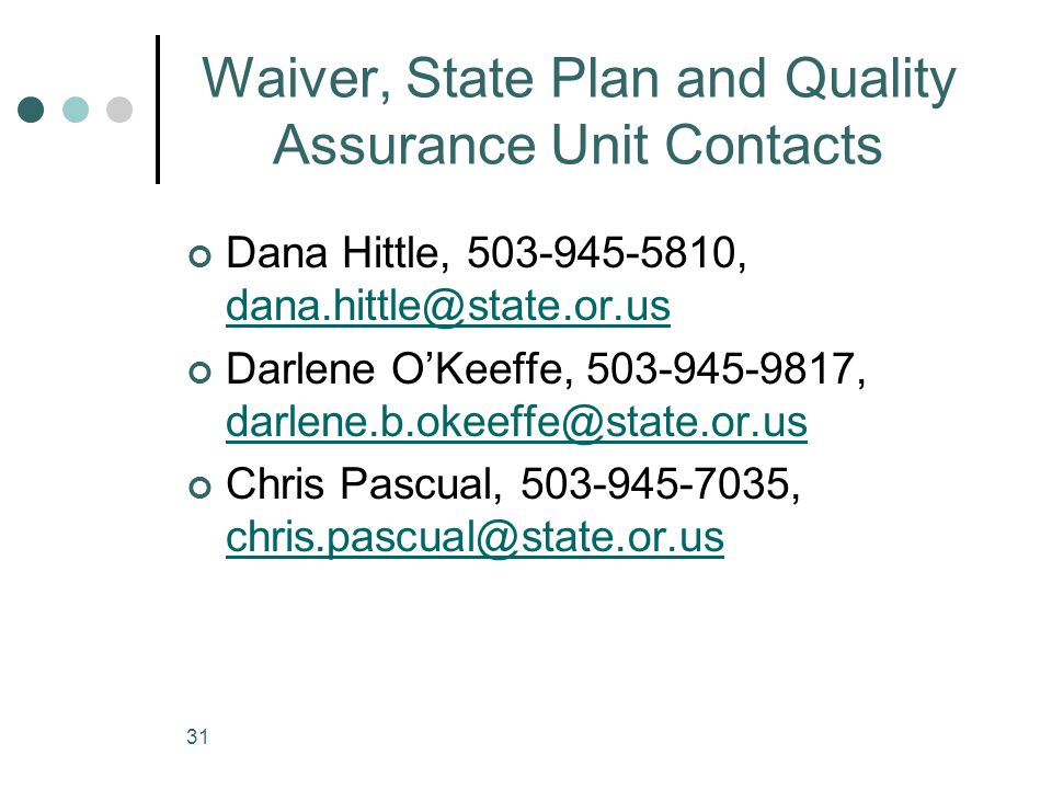 Waiver, State Plan and Quality Assurance Unit Contacts