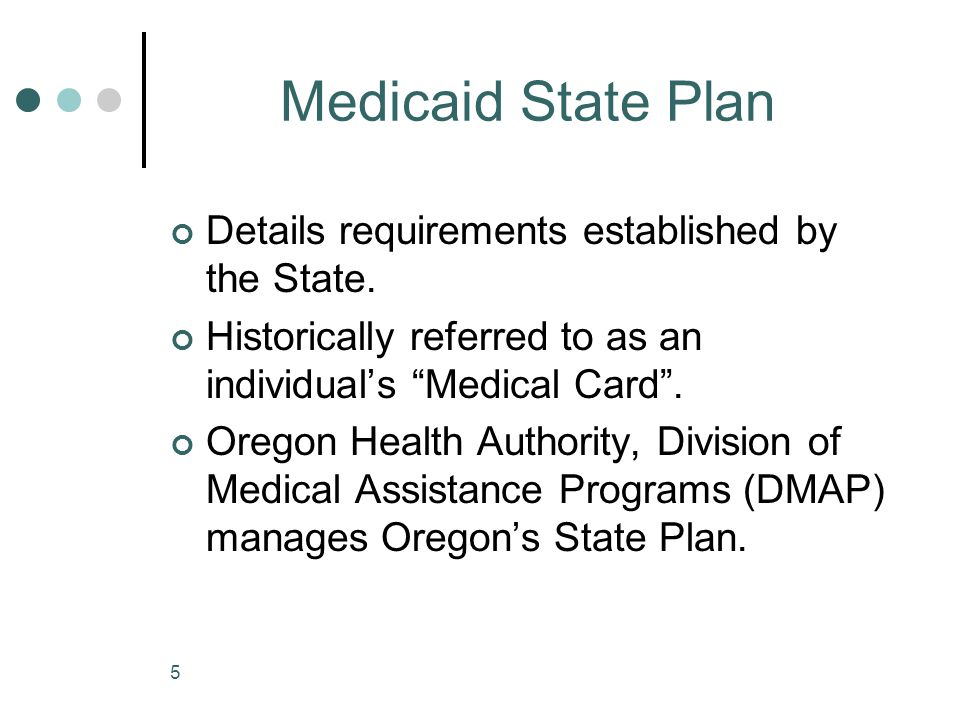 Medicaid State Plan Details requirements established by the State.