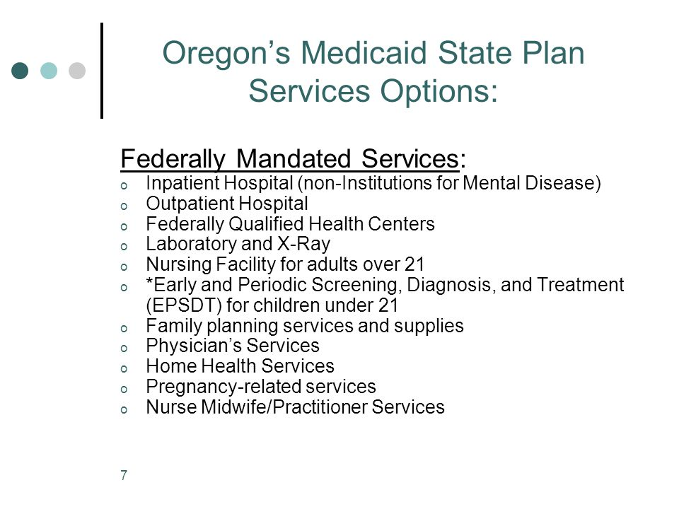 Oregon's Medicaid State Plan Services Options: