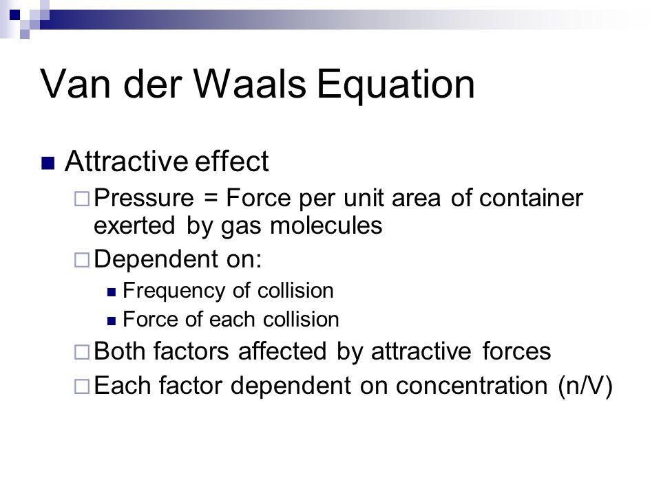 Van der Waals Equation Attractive effect