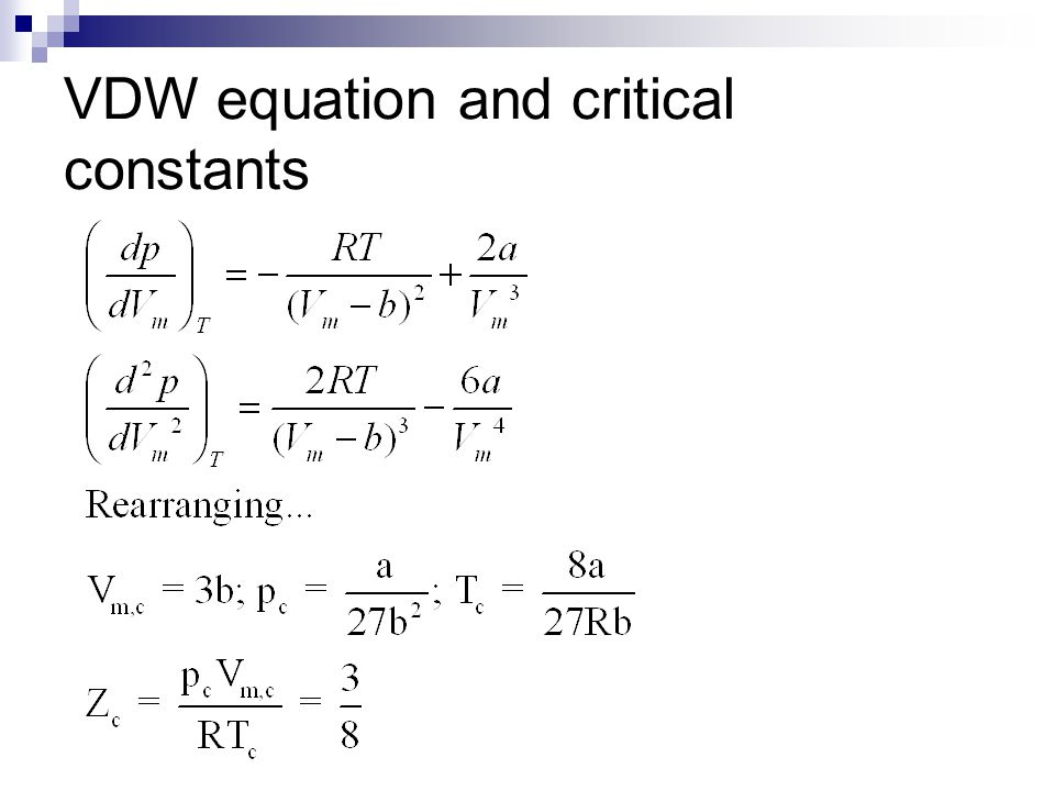 VDW equation and critical constants