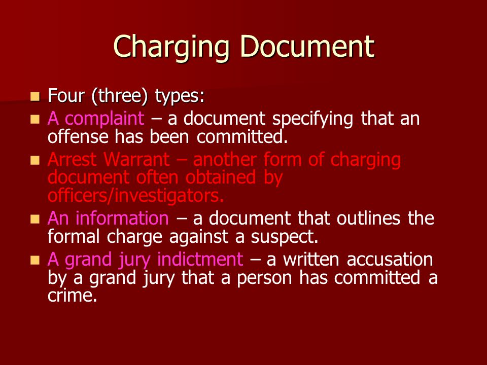Charging Document Four (three) types: