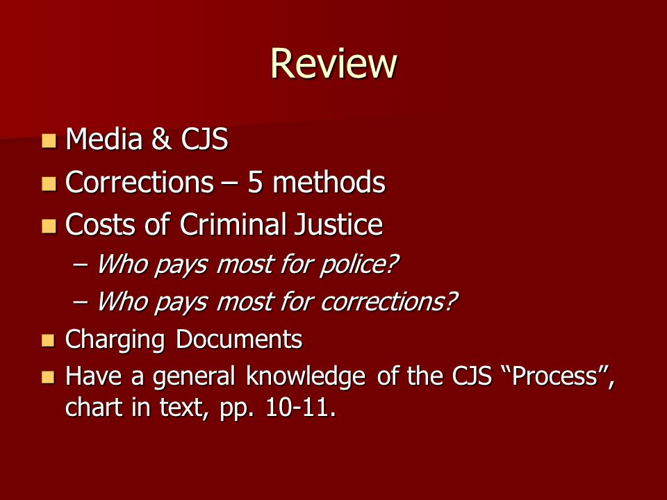 Review Media & CJS Corrections – 5 methods Costs of Criminal Justice