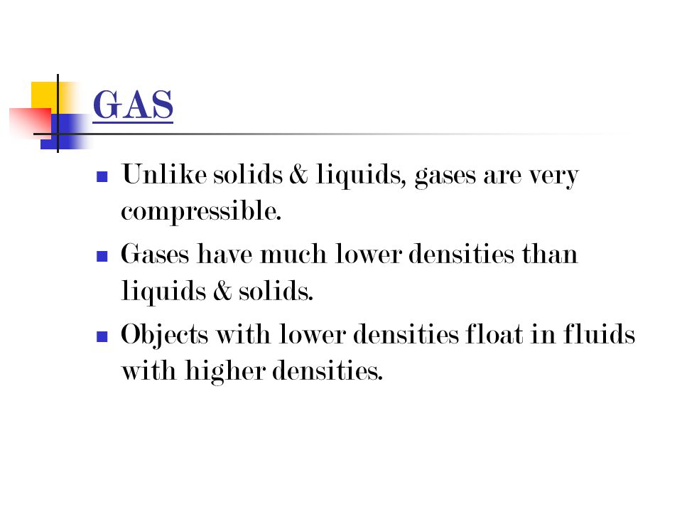 GAS Unlike solids & liquids, gases are very compressible.