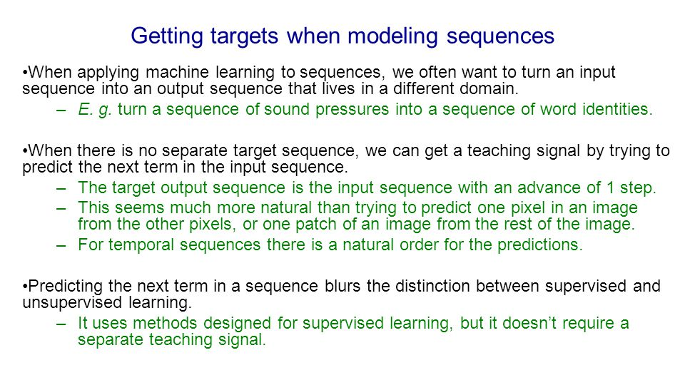 Getting targets when modeling sequences