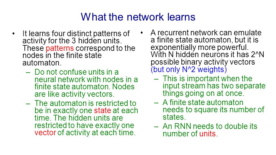 What the network learns