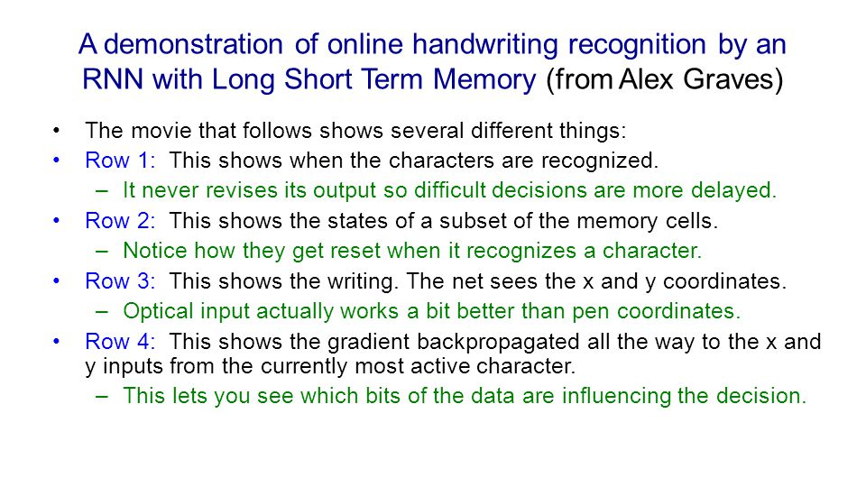 A demonstration of online handwriting recognition by an RNN with Long Short Term Memory (from Alex Graves)