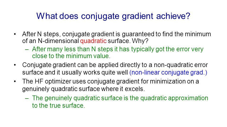 What does conjugate gradient achieve