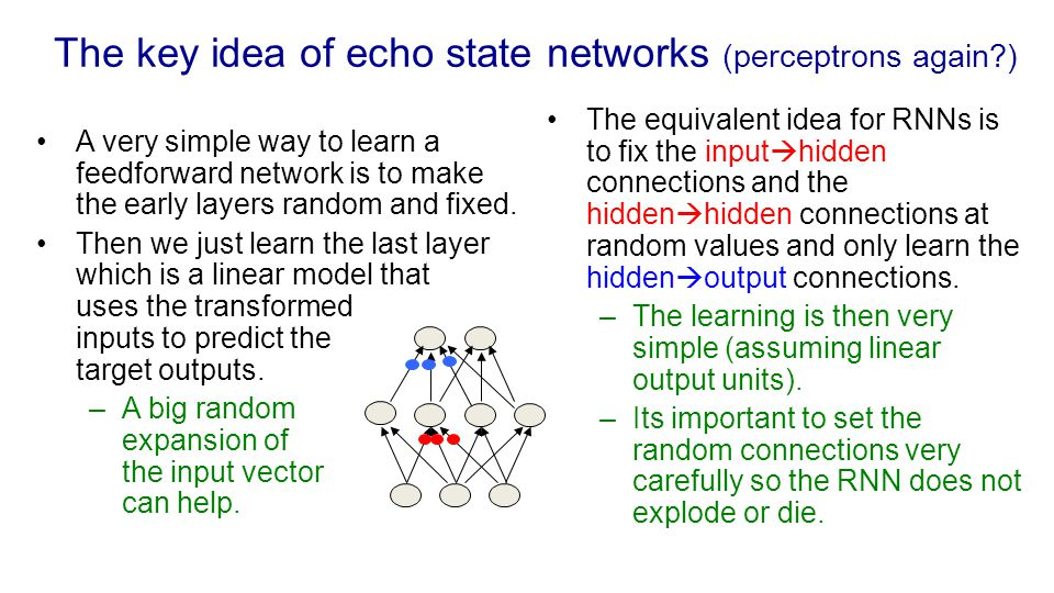 The key idea of echo state networks (perceptrons again )
