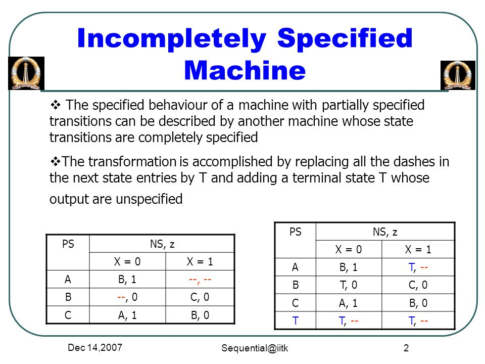 Incompletely Specified Machine