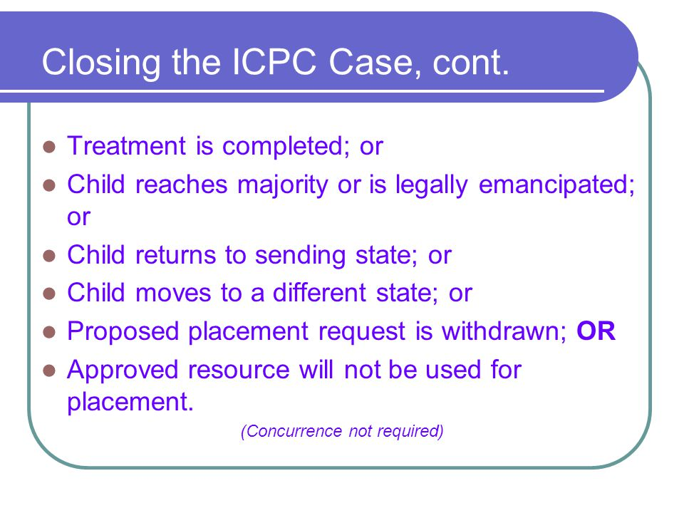 Closing the ICPC Case, cont.