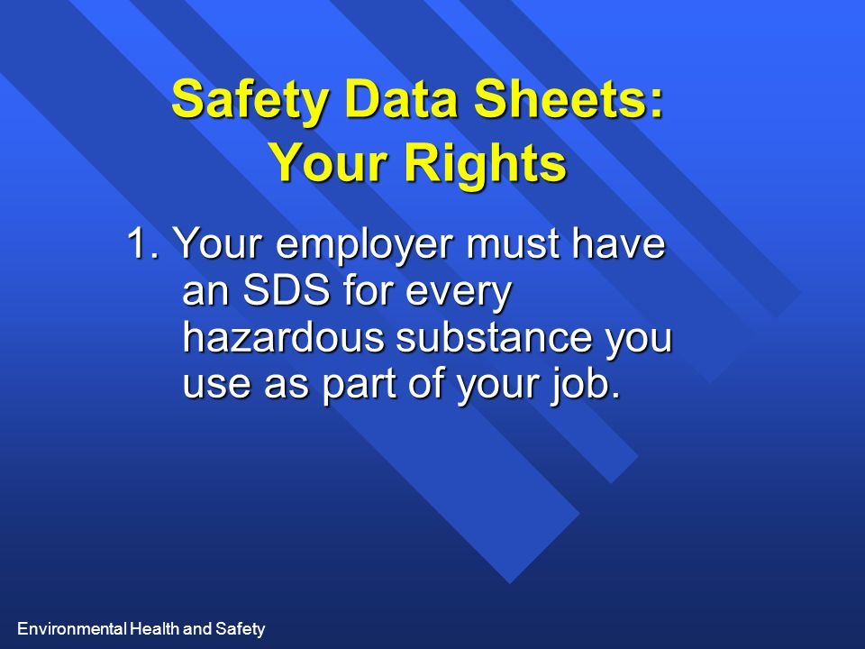 Safety Data Sheets: Your Rights
