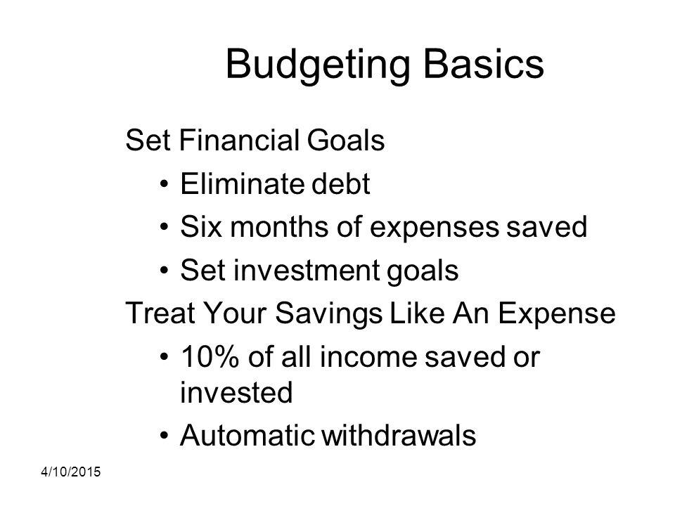Budgeting Basics Set Financial Goals Eliminate debt