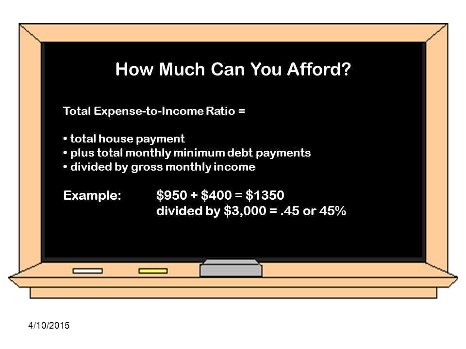 Example: $930 + $300 = $1200 divided by $3,000 = .41 or 41%