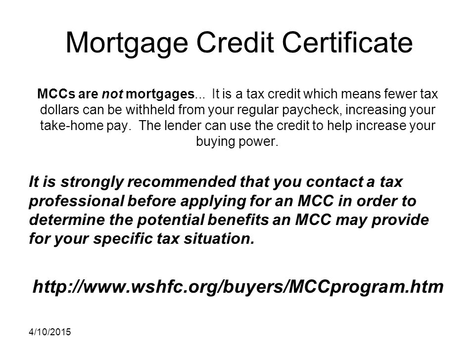 Mortgage Credit Certificate